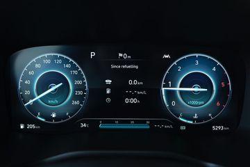 Cụm đồng hồ hiển thị thông số kỹ thuật dạng digital trên Hyundai Santa Fe 2021